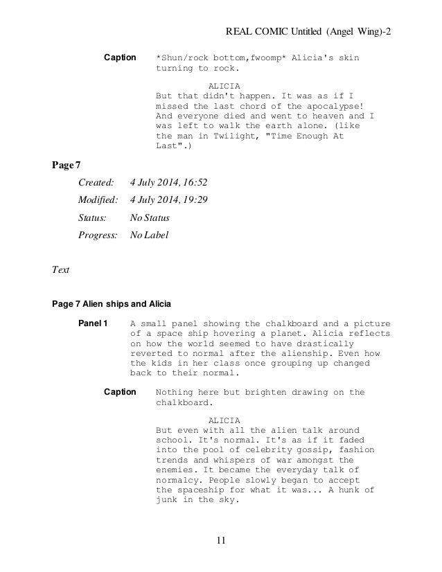Untitled (angel wing) new chapter one rough draft script