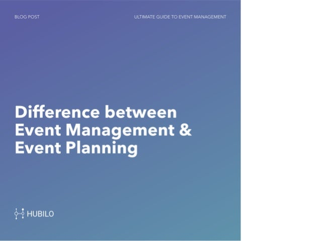 Event Management Vs Event Planning