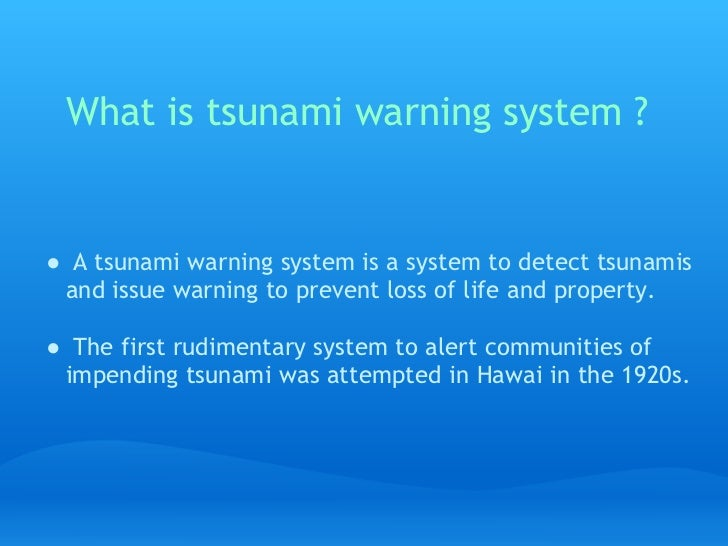 warning systems and prevention techniques tsunamis