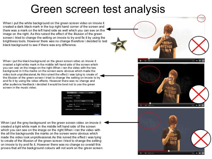 Green screen test analysis When i put the white background on the green screen video on imovie it created a dark black mar...
