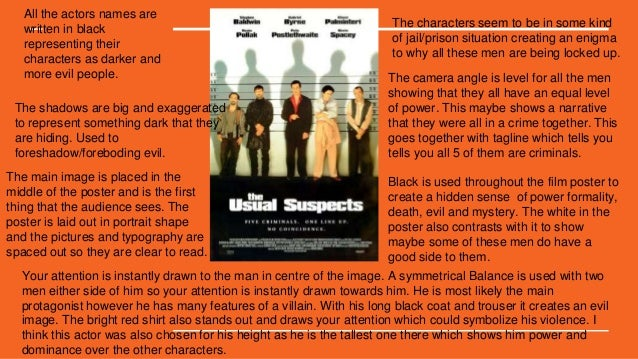 an analysis of the usual suspects The usual suspects in this film there is a variety of very different, interesting characters including: michael mcmanus (stephen baldwin) - this character is a very strange.