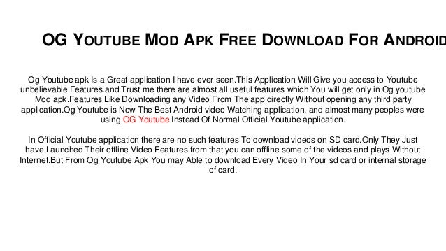 Og Youtube Apk Download Now