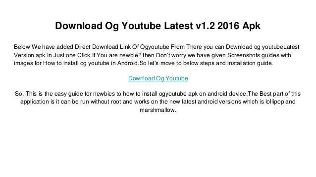 Og Youtube Apk Download Now