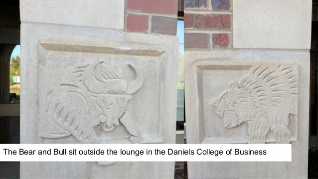 The Bear and Bull sit outside the lounge in the Daniels College of Business