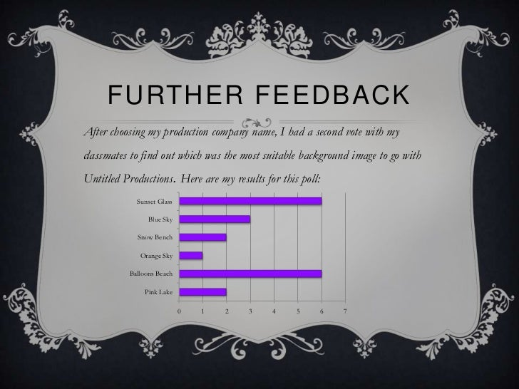 FURTHER FEEDBACKAfter choosing my production company name, I had a second vote with myclassmates to find out which was the...