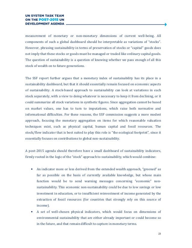 23measurement of monetary or non-monetary dimensions of current well-being. Allcomponents of such a global dashboard shoul...