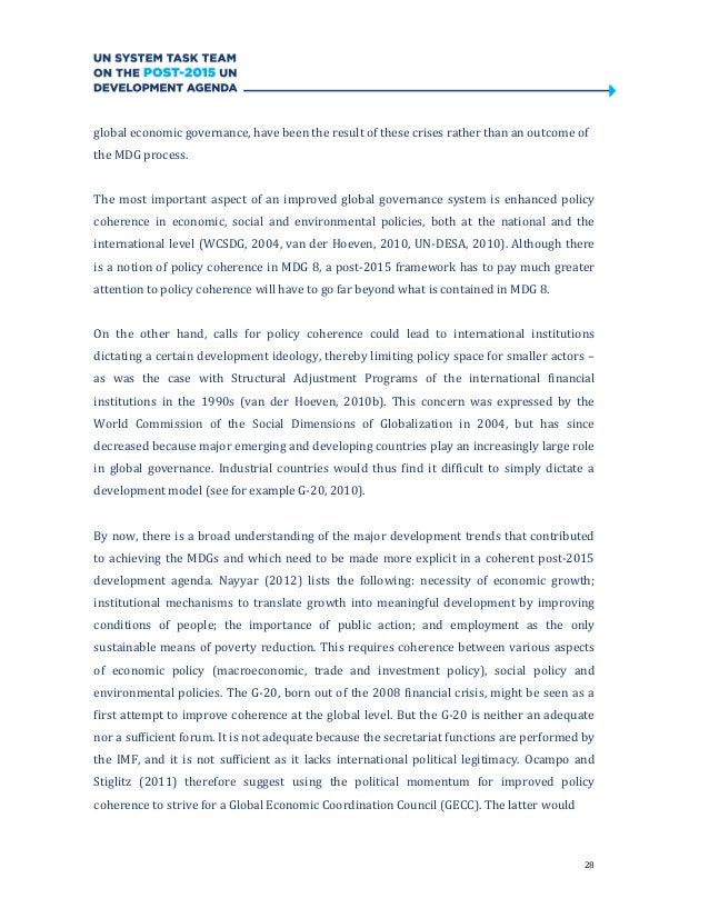 28global economic governance, have been the result of these crises rather than an outcome ofthe MDG process.The most impor...