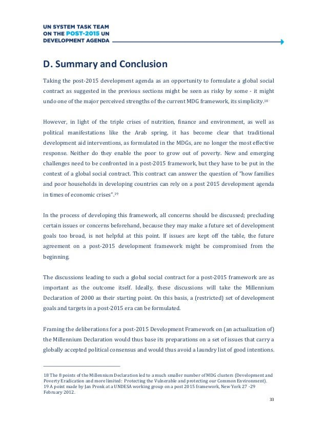 33D. Summary and ConclusionTaking the post-2015 development agenda as an opportunity to formulate a global socialcontract ...