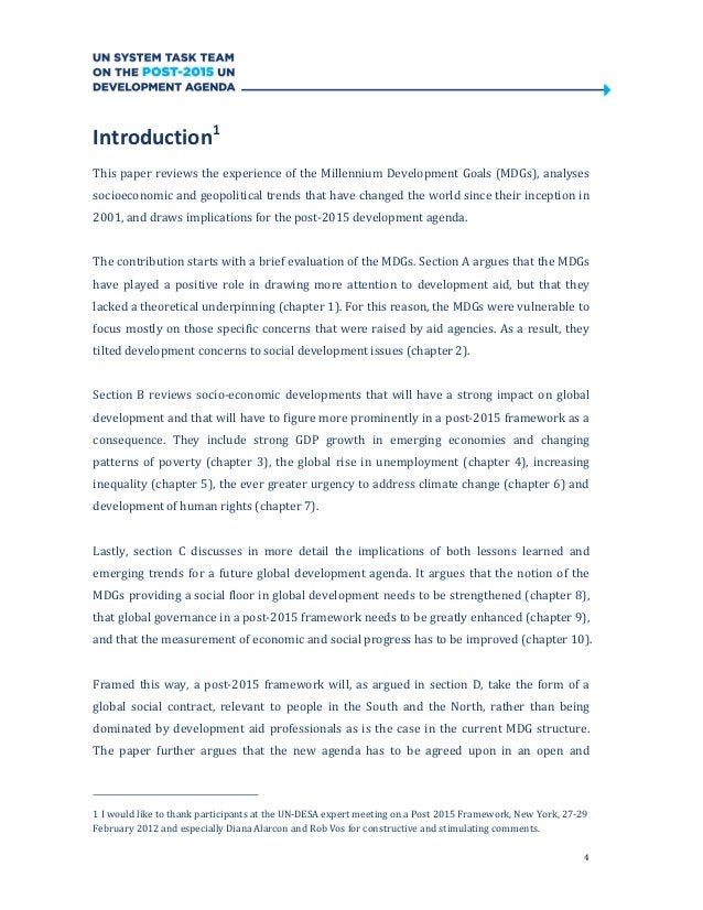 4Introduction1This paper reviews the experience of the Millennium Development Goals (MDGs), analysessocioeconomic and geop...