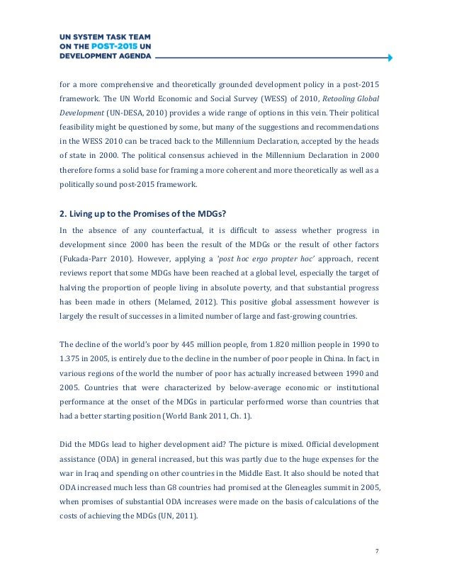 7for a more comprehensive and theoretically grounded development policy in a post-2015framework. The UN World Economic and...
