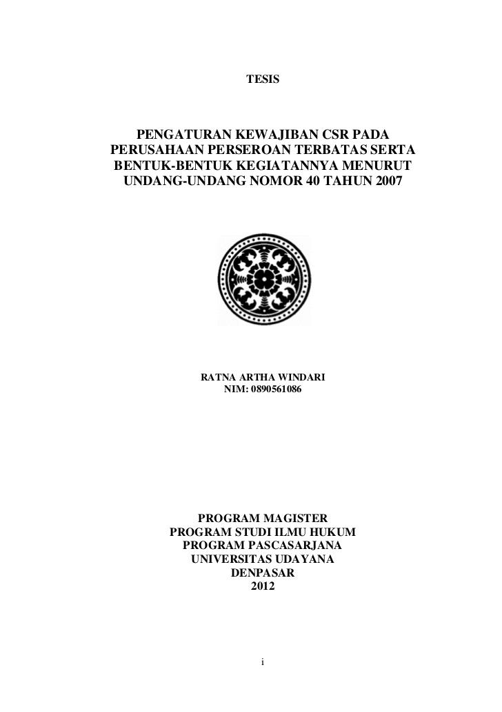 Contoh Proposal Tesis S2 Magister Manajemen Contoh Proposal Tesis