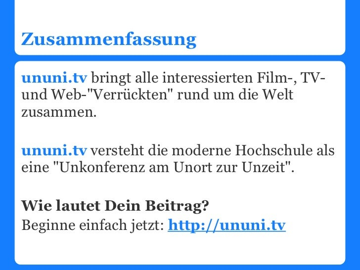 """Zusammenfassungununi.tv bringt alle interessierten Film-, TV-und Web-""""Verrückten"""" rund um die Weltzusammen.ununi.tv verste..."""