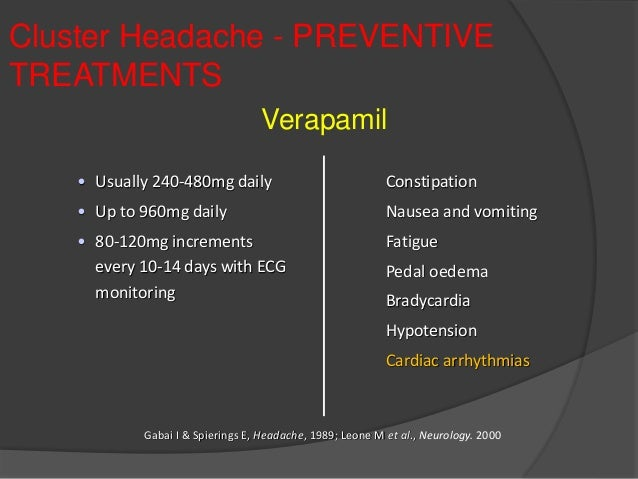 Verapamil Dosage For Cluster Headaches