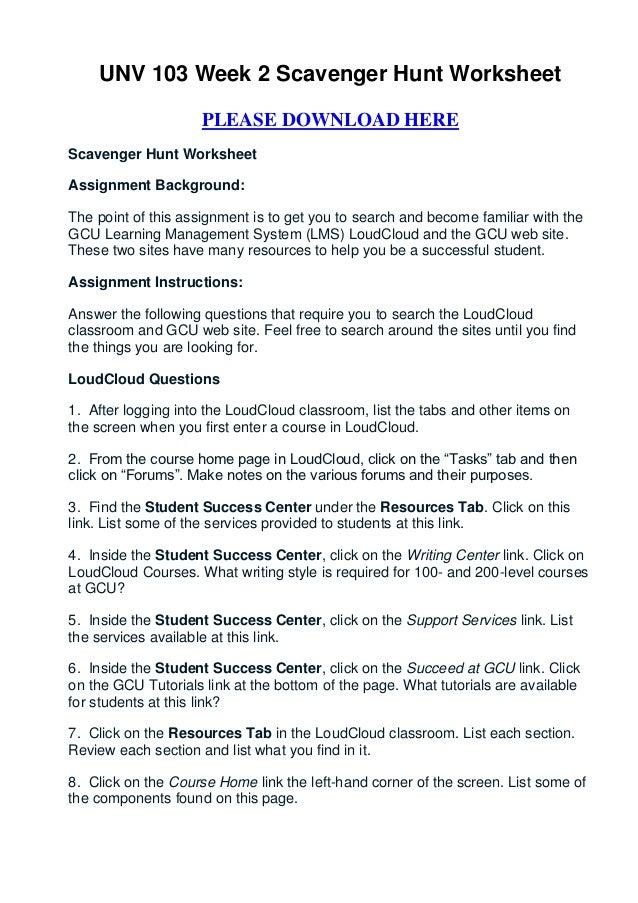 picture regarding Classroom Scavenger Hunt Printable titled Unv 103 7 days 2 scavenger hunt worksheet