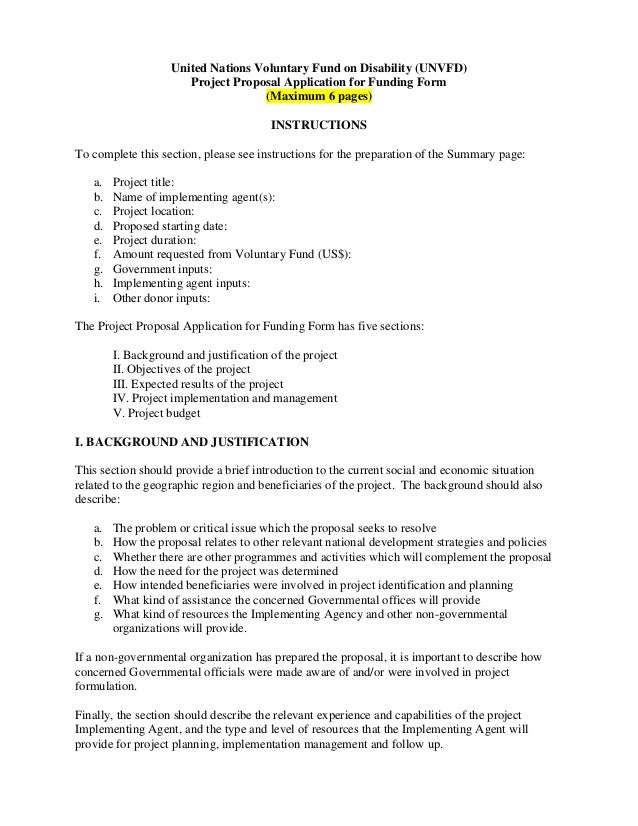 United Nations Voluntary Fund on Disability (UNVFD) Project Proposal Application for Funding Form (Maximum 6 pages) INSTRU...