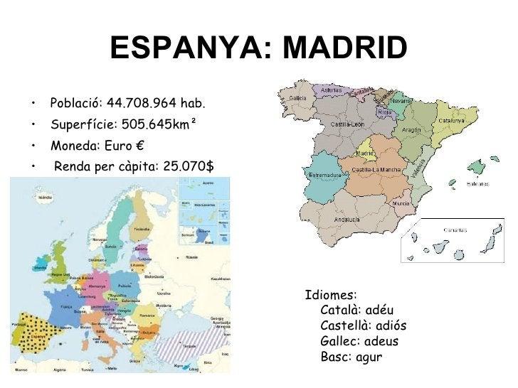 ESPANYA: MADRID <ul><li>Població: 44.708.964 hab. </li></ul><ul><li>Superfície: 505.645km² </li></ul><ul><li>Moneda: Euro ...
