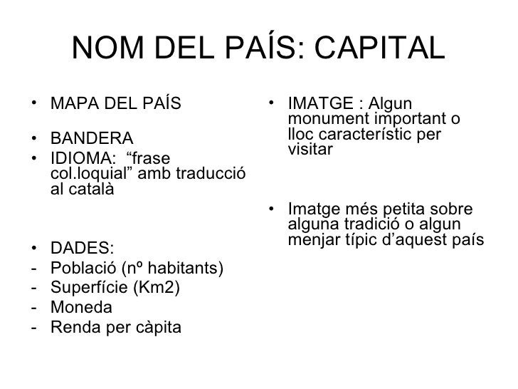 """NOM DEL PAÍS: CAPITAL <ul><li>MAPA DEL PAÍS  </li></ul><ul><li>BANDERA </li></ul><ul><li>IDIOMA:  """"frase col.loquial"""" amb ..."""