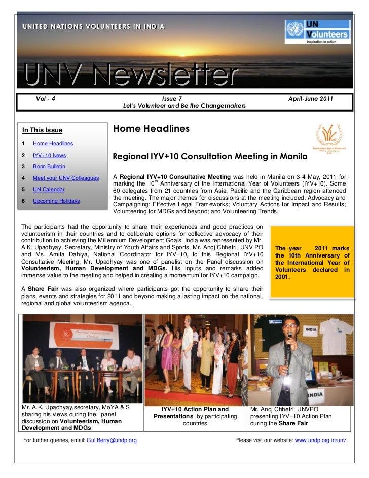 U N IIT E D N A T IIO N S V O L U N T E E R S IIN IIN D IIAUN TED NAT ONS VOLUNTEERS N ND AUNV Newsletter     Vol - 4     ...