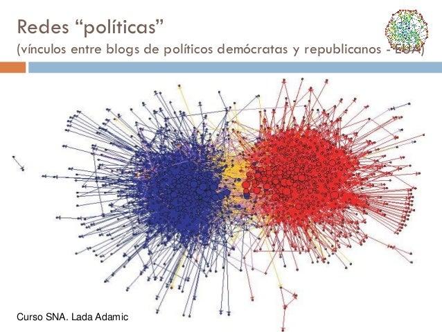 """Redes """"políticas"""" (vínculos entre blogs de políticos demócratas y republicanos - EUA)  Curso SNA. Lada Adamic"""