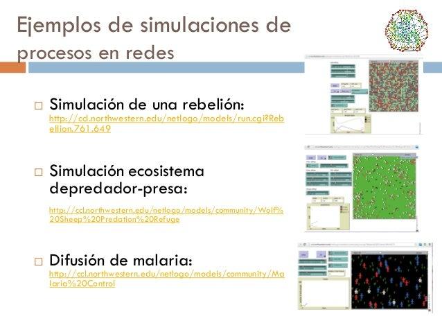 Ejemplos de simulaciones de procesos en redes   Simulación de una rebelión:  http://ccl.northwestern.edu/netlogo/models/r...