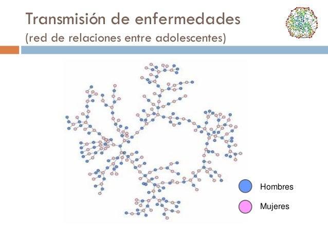 Transmisión de enfermedades (red de relaciones entre adolescentes)  Hombres Mujeres