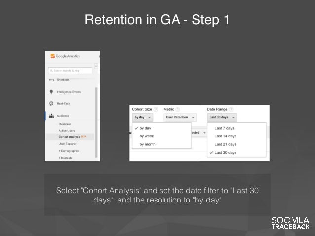 """Retention in GA - Step 1 Select """"Cohort Analysis"""" and set the date filter to """"Last 30 days"""" and the resolution to """"by day"""""""