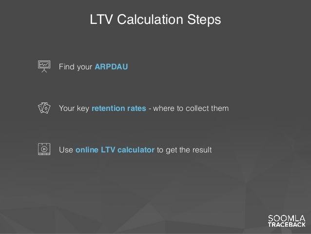 LTV Calculation Steps Find your ARPDAU Your key retention rates - where to collect them Use online LTV calculator to get t...