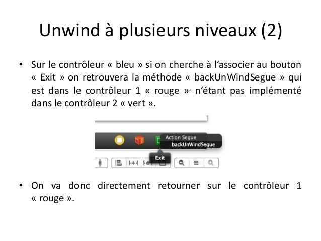 Unwind à plusieurs niveaux (2) • Sur le contrôleur « bleu » si on cherche à l'associer au bouton « Exit » on retrouvera la...