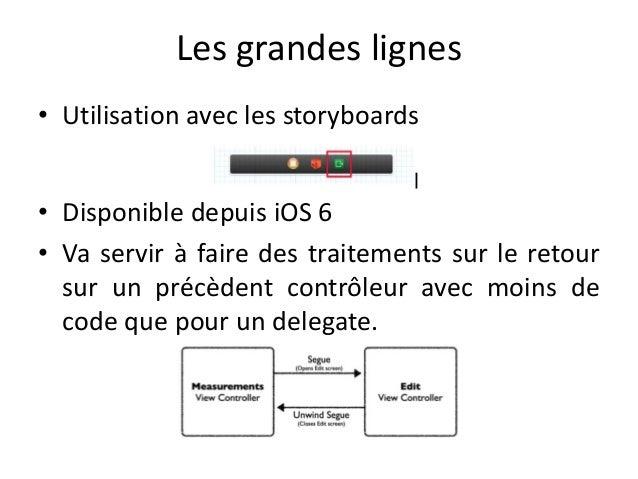 Les grandes lignes • Utilisation avec les storyboards • Disponible depuis iOS 6 • Va servir à faire des traitements sur le...