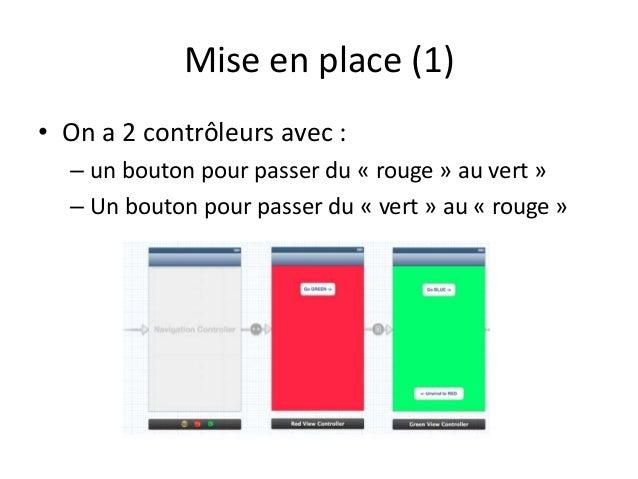 Mise en place (1) • On a 2 contrôleurs avec : – un bouton pour passer du « rouge » au vert » – Un bouton pour passer du « ...