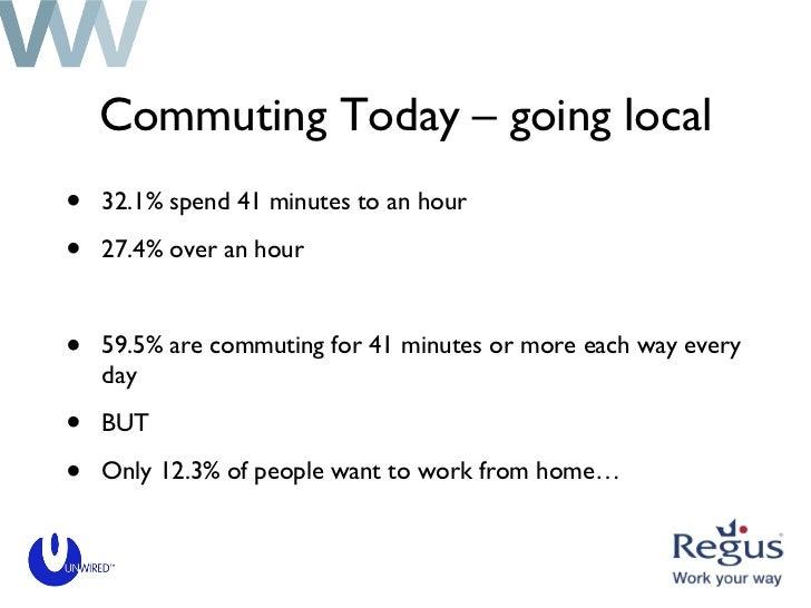 Commuting Today – going local <ul><li>32.1% spend 41 minutes to an hour </li></ul><ul><li>27.4% over an hour </li></ul><ul...