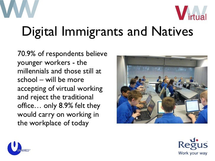 Digital Immigrants and Natives <ul><li>70.9% of respondents believe younger workers - the millennials and those still at s...