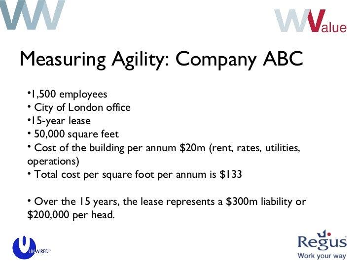 Measuring Agility: Company ABC <ul><li>1,500 employees </li></ul><ul><li>City of London office </li></ul><ul><li>15-year l...