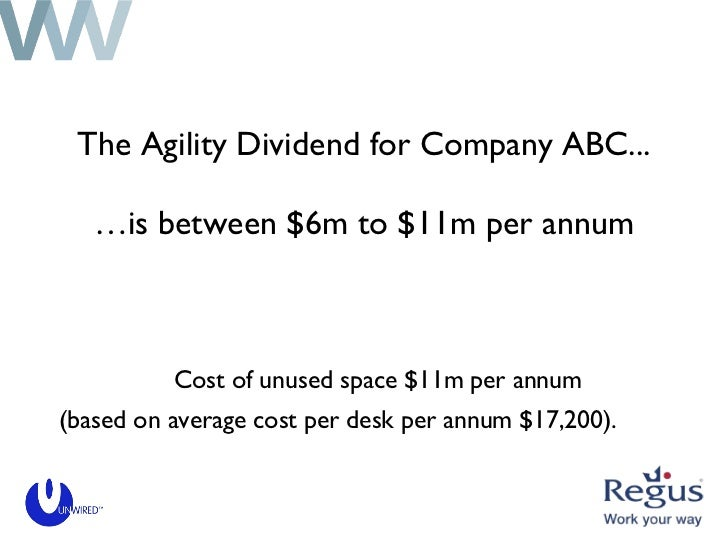 The Agility Dividend for Company ABC...   …is between $6m to $11m per annum <ul><li>(based on average cost per desk per an...