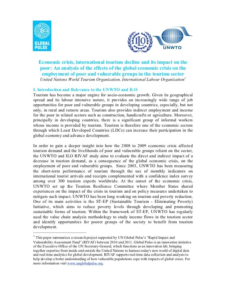 Economic crisis, international tourism decline and its impact on the    poor: An analysis of the effects of the global eco...