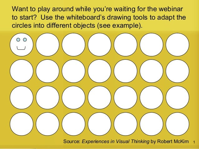 1Source: Experiences in Visual Thinking by Robert McKim Want to play around while you're waiting for the webinar to start?...