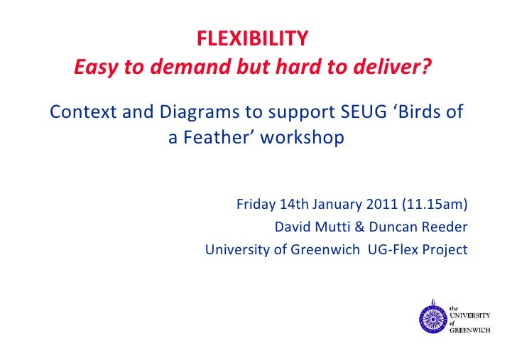 FLEXIBILITY Easy to demand but hard to deliver? Context and Diagrams to support SEUG 'Birds of a Feather' workshop Friday ...