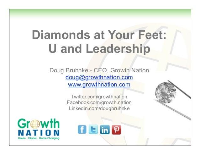 Diamonds at Your Feet:   U and Leadership  Doug Bruhnke - CEO, Growth Nation       doug@growthnation.com        www.growth...