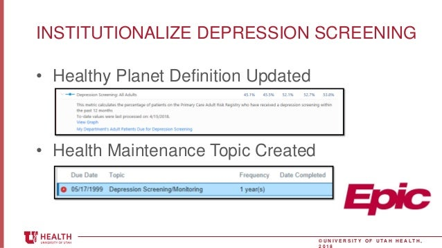University of Utah Health Improving Depression Screening