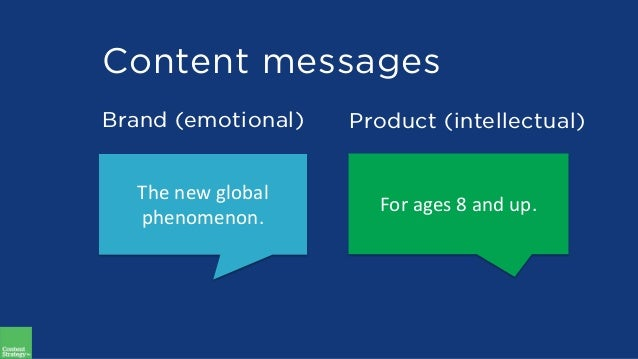 Content messages Brand (emotional) Product (intellectual) The new global phenomenon. For ages 8 and up.