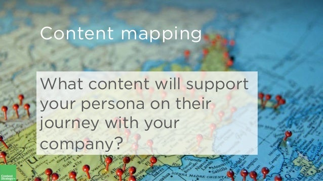 What content will support your persona on their journey with your company? Content mapping