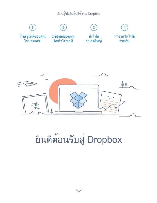 1 2 3 4 ยินดีต้อนรับสู่ Dropbox รักษาไฟล์ของคุณ ให้ปลอดภัย มีข้อมูลของคุณ ติดตัวไปทุกที่ ส่งไฟล์ ขนาดใหญ่ ทำ�งานในไฟล์ ร่ว...