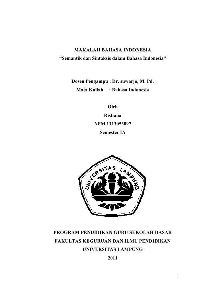 Makalah Semantik Dan Sintaksis Dalam Bahasa Indonesia