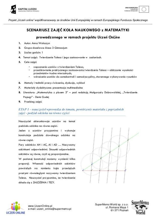 """Projekt """"Uczeń online"""" współfinansowany ze środków Unii Europejskiej w ramach Europejskiego Funduszu Społecznego www.Uczen..."""