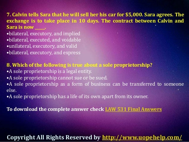 business law final exam Pass the clep business law exam and skip a semester of boring class with our free clep business law practice questions it's a cinch no registration needed.