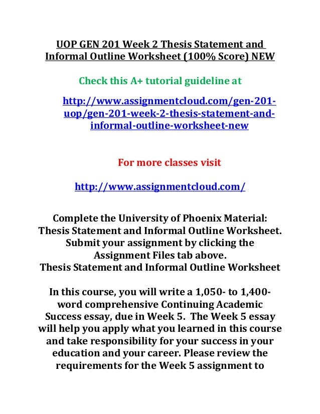 university of phoenix material thesis statement and outline