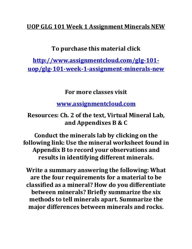 Uop Glg 101 Week 1 Assignment Minerals New