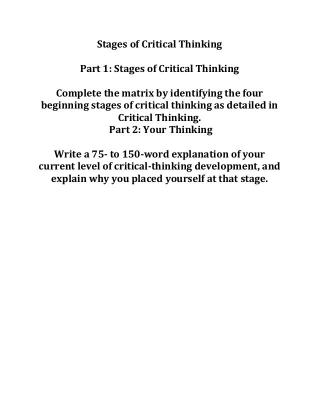 four stages of critical thinking