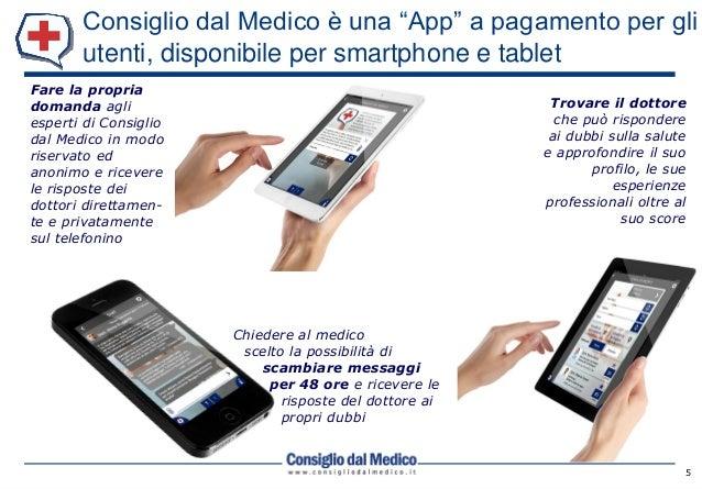"""Consiglio dal Medico è una """"App"""" a pagamento per gli utenti, disponibile per smartphone e tablet 5 Fare la propria domanda..."""
