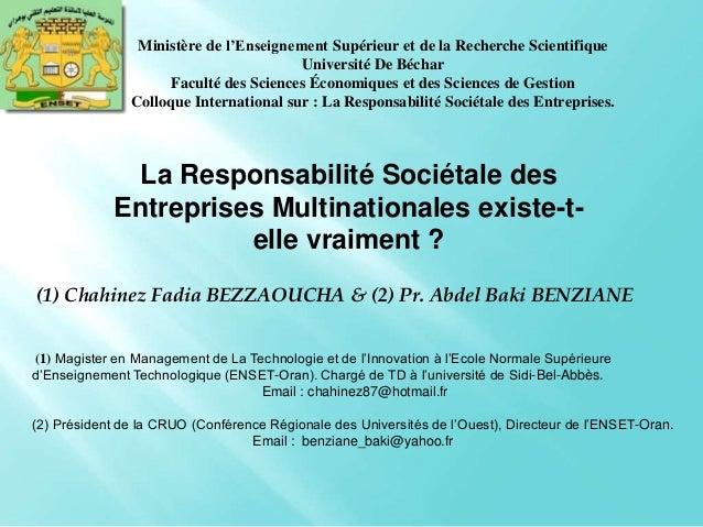(1) Chahinez Fadia BEZZAOUCHA & (2) Pr. Abdel Baki BENZIANE (1) Magister en Management de La Technologie et de l'Innovatio...